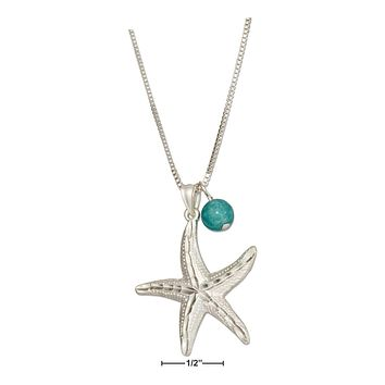 """Sterling Silver Necklace:  18"""" Diamond Cut Starfish Pendant Necklace With Blue Riverstone Bead"""