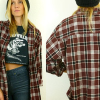 Vtg 90s Grunge Maroon Plaid Flannel Oversize Boyfriend Shirt/ Jacket One size fits most