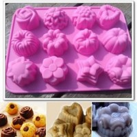 niceEshop(TM) 12 Cavity Flowers Silicone Non Stick Cake Bread Mold Chocolate Jelly Candy Baking Mould With Accessory Cable Tie