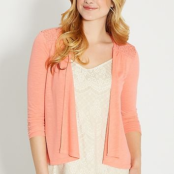 lightweight cardigan with lace in passion fruit | maurices
