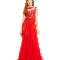 MAC by Mac Duggal Embroidered Illusion Bodice Gown | Dillards