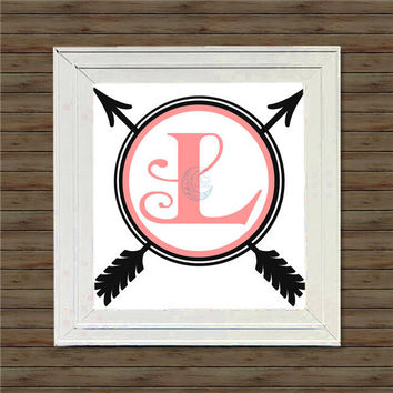 CIRCLE ARROWS MONOGRAM vinyl decal * wall decal * monogram on canvas * block script monogram * vine script monogram * names * initials
