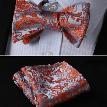 Orange Gray Floral Men's Silk Bow tie and handkerchief set