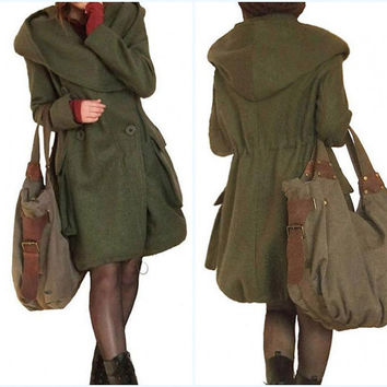 winter wool overcoat hoodie waist drawstring Large pocket wool coat