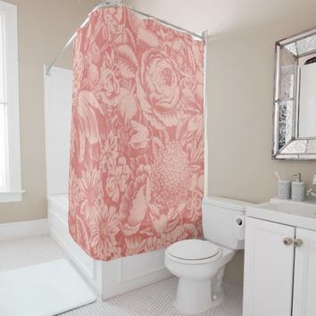 Vintage Floral Pattern Print Shower Curtain