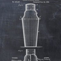 Cocktail Shaker Patent Print - Art Print - Patent Poster - Bar Decor - Mixer