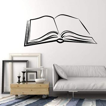 Vinyl Wall Decal Open Book Learning Library Lover Read Writer Stickers Unique Gift (1853ig)