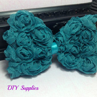 "4"" Deep teal chiffon bow - diy supplies - wholesale flowers - hair bow supplies - shabby chiffon bow - headband bow - shabby bow"