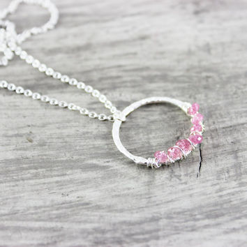 Light Pink Necklace, Wire Wrap Necklace, Sterling Silver Necklace, Mystic Topaz Necklace, Pink Gemstone Necklace, Circle Pendant Necklace