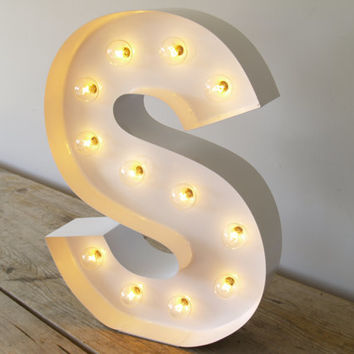 Hollywood Letter S with in Pure White with Lights : Carnival Letters Light Up Letter Lamp and Marquee Letter Sign