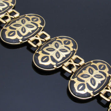 Wide Damascene Bracelet Vintage Jewelry Black Gold Oval Link B7638