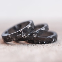 Resin Stacking Ring Black Silver Flakes Small Faceted Ring OOAK dark gray minimalist jewelry neutral winter rusteam