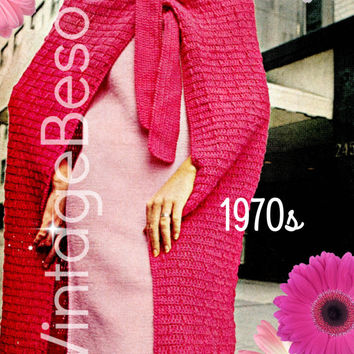 Instant Download Two (2) Patterns Vintage 1970s KNIT Dress and CROCHET CAPE/Skirt Wrap Cape or Wrap Skirt Pattern Printable Pdf Pattern