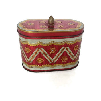 Vintage Tin Box-Red and Gold-Oval Shape-Tin Container-Lid with Knob-Metal Box-Candy Tin-Vintage Storage-Shabby Chic
