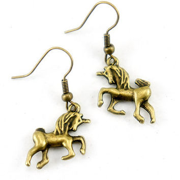Unicorn Earrings - Antiqued Brass Vintage Style Unicorn Dangle Earrings - CP012