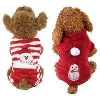 Dog Red Striped Jacket Winter Sweater