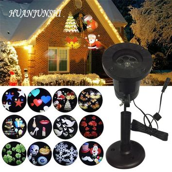 Waterproof Outdoor LED Stage Lights 12 Patterns Holiday Christmas Snowflake Projector Lamp Home Garden Lawn Decoration Light