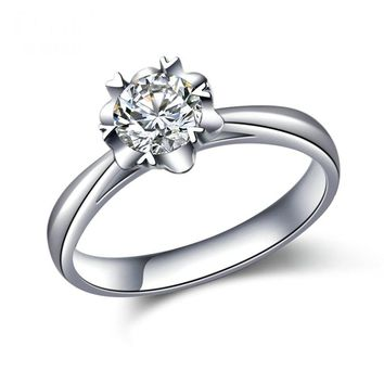 Starfield 18K White Gold Women's 0.52 CT Natural Diamond Solitaire Engagement Ring for Women