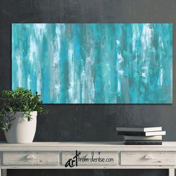 Grey & teal wall art, Canvas abstract, Teal bedroom decor above bed or in master bathroom, Wall picture for dining room or art over couch