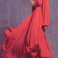 Red Cutout Shoulder Halter Backless Long Sleeve Maxi Chiffon Dress
