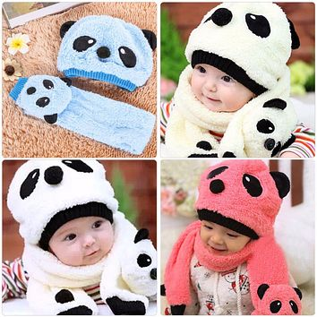 Winter Warm Baby Hat Scarf Set Cute Panda Cap Woolen Knitted Children Cap for Girls Kids Boys Hat Scarf Cartoon Infant Beanies