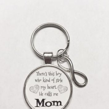 Infinity Boy Who Stole My Heart He Calls Me Mom Son Mother Gift Keychain