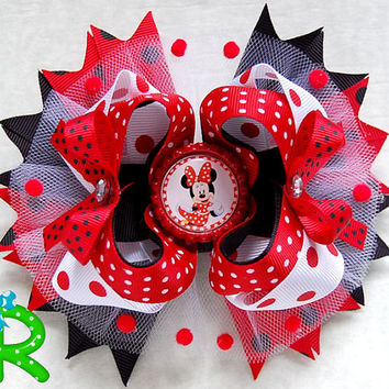 Minnie mouse Red Stacked hair bow, polka dot ott bow, disney boutique hair bow for girls