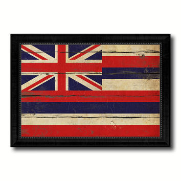 Hawaii State Vintage Flag Canvas Print with Black Picture Frame Home Decor Man Cave Wall Art Collectible Decoration Artwork Gifts