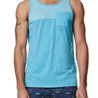 On The Byas Texture Mixed Pieced Tank Top - Mens Tee - Blue