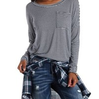 Navy Combo Long Sleeve Slouchy Pocket Tee by Charlotte Russe