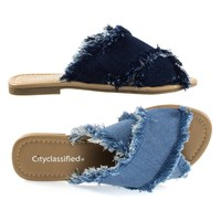 Cyrus Light Blue Denim By City Classified, Destroyed Frayed Jean Flat Open Toe Slide Sandal