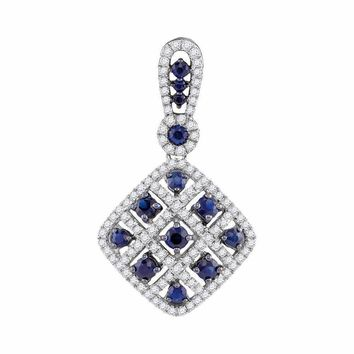 10kt White Gold Women's Round Lab-Created Blue Sapphire Square Pendant 1.00 Cttw - FREE Shipping (US/CAN)