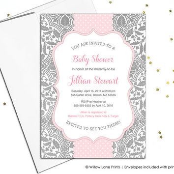 Pink and gray baby shower invite - baby girl - printable baby shower invitation - printed - unique baby sprinkle invitations for girls (788)