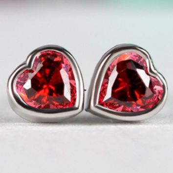 Stylish and elegant small heart-shaped micro-set red zircon women's earrings F0510-1