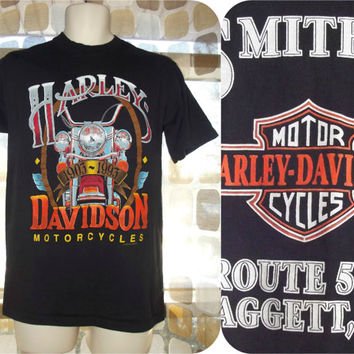 Vintage 90s RARE Harley Davidson Motorcycles 1903-1993 90th Anniversary Biker Rally T-Shirt Tee Smith's Route 549 Daggett PA Medium
