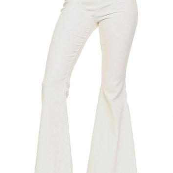 High Waist Flared Pants with Buttons