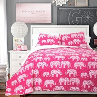 Lush Decor 3 Piece Elephant Parade Sherpa Quilt Sleeping Bag Set