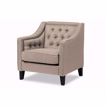 Vienna Classic Retro Modern Beige Fabric Upholstered Button-tufted Armchair By Baxton Studio