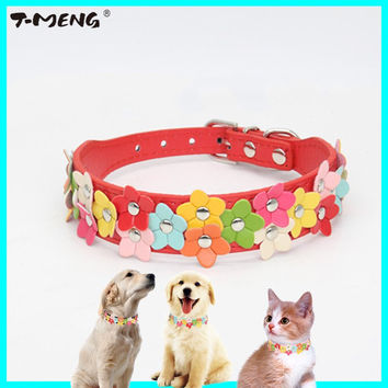 Colorful Flower Studded Leather Collar