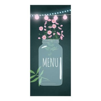 Pink and blue Cosmos floral Mason Jar Wedding Menu