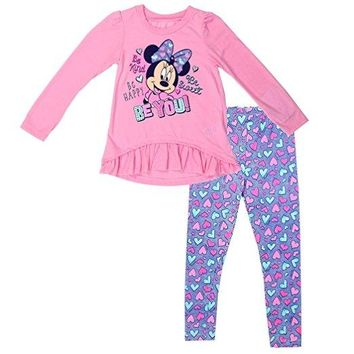 Pink Hearts Minnie Mouse Girls 2-Piece Leggings & Top Set