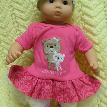 "AMERICAN GIRL Bitty Baby Clothes ""Mommy and Me Cuddly Bears"" (15 inch) doll outfit dress, leggings, booties/ socks, and headband/hair clip"