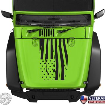 In-versed Distressed Wavy American Flag Hood Blackout Vinyl Decal