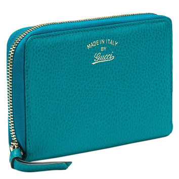 Gucci Teal Leather Zip Around Large Wallet