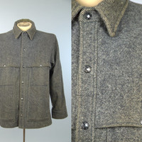 70s Filson Double Mackinaw Jacket Salt & Pepper Wool Hunting Work Wear Jacket