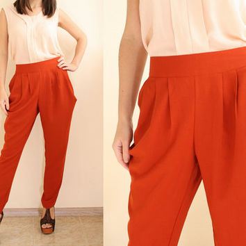 Women Harem Pants Burnt Orange Terracotta Pants