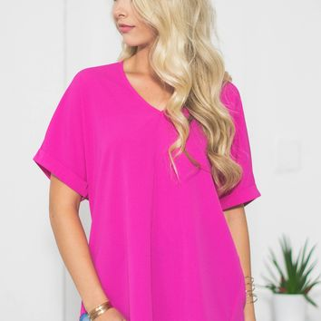 Cuffed Sleeve Dolman Top | Hot Pink