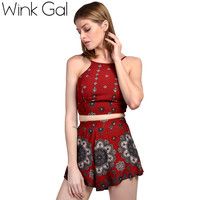 Wink Gal Two-piece Suit Women Summer Suits Floral Print Crop Top and Shorts Set Beachwear 10119