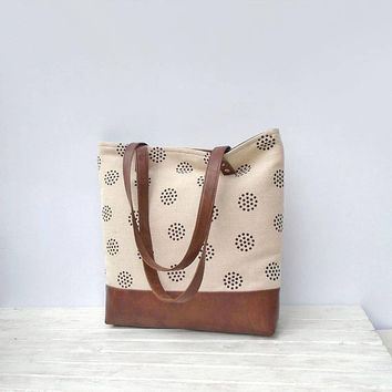 Jute geometric print TOTE bag, Large canvas bag, Hand stamped, hobo bag,  Messenger Bag, day bag, cotton, jute and leather bag, shopper bag