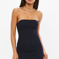 Missguided - Petite Navy Bandeau Bandage Dress